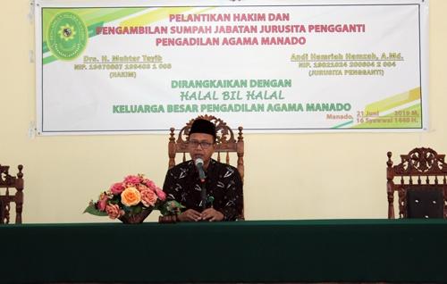 Ketua Pengadilan PA Manado Melantik  Hakim dan Jusita Pengganti