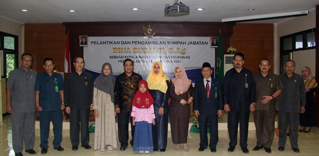 Ketua PA Manado menghadiri Pelantikan Kabag Umum dan Keuangan PTA Manado