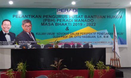 KPA Manado Menghadiri Acara Pelantikan Pengurus Pusat Bantuan Hukum PERADI Manado Masa Bhakti 2019-2022