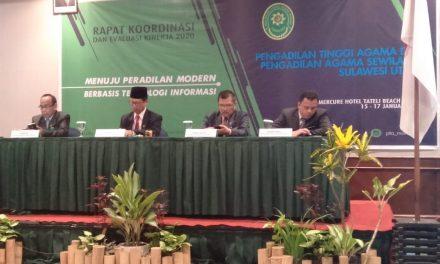 Ketua, Panitera dan Sekretaris PA Manado mengikuti Rakor dan Evaluasi Kinerja 2020 Pengadilan Agama Se-Sulawesi Utara