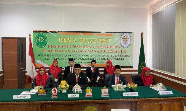 Ikuti Desk Evaluasi Pembangunan ZI, TPN Apresiasi Inovasi dan Presentase meningkatnya E-Court di PA Manado.